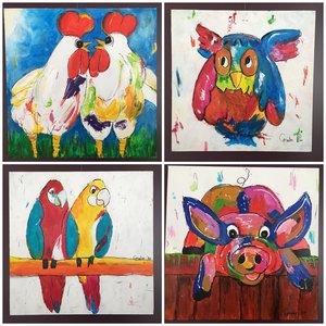 Schilderij- Kleurrijke en vrolijke Gralie
